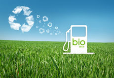 Eco gas. Bio diesel gas on a grass background Royalty Free Stock Photography