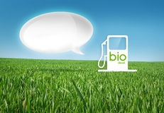 Eco gas. Bio diesel gas on a grass background with bubble, sample your text Stock Photography