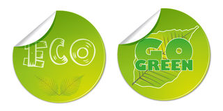 eco gehen Vektorgeschäfts-Shopaufkleber Bioaufkleber natürlicher der grünen Lizenzfreies Stockbild