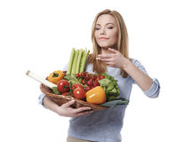 Eco girl. Smell of fresh vegetable is amazing Royalty Free Stock Images