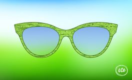 Eco glasses healthy lifestyle grunge texture vector. Accessory Art Collection cool flat design. Elegant spectacles on green blue. Background royalty free illustration