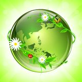 Eco globe. World conceptual eco glossy globe (map used from NASA public domain http://earthobservatory.nasa.gov/GlobalMaps Stock Image