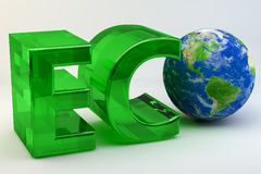 Eco Globe. The word Eco written with the EC in green glass and then O represented by the planet Earth all set against a white background Stock Photo
