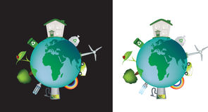 Eco globe detailed. Detailed illustration of the world and the concept of eco and caring Stock Photography