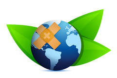 Eco globe and leaves with band aid Royalty Free Stock Images