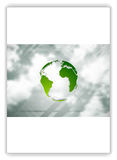 Eco globe on sky background. Flyer design Stock Images