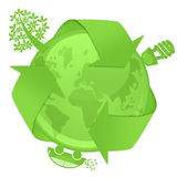 Eco Globe with Tree Energy Bulb Hybrid Car Royalty Free Stock Image
