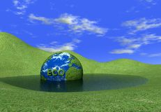 Eco globe in water. Eco globe logo  in water - 3d rendering Royalty Free Stock Photo