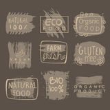 Eco Glute Free Bio Food Grey Logo Set. Eco Glute Free Bio Food Grey Set Of Product Logo Design. Cool Flat Vector Design Template On White Background Stock Photography