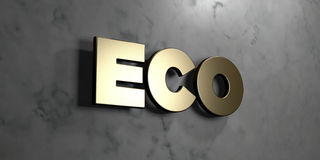 Eco - Gold sign mounted on glossy marble wall  - 3D rendered royalty free stock illustration Royalty Free Stock Photo