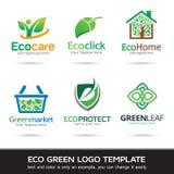 Eco gräsplanblad Logo Template Design Vector Vektor Illustrationer