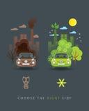 Eco grön och brun bil Stock Illustrationer