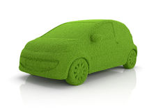 Eco grass car. 3d render of eco grass car  on whute background Stock Image