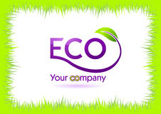 Eco grass frame isolated in white Royalty Free Stock Photos