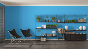 Eco gray and blue interior design with wooden bookshelf, diy ver. Tical garden storage shelving, living, lounge relax area with armchairs Stock Photos