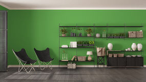 Eco gray and green interior design with wooden bookshelf, diy vertical garden storage shelving, living, lounge relax area with ar. Mchairs royalty free stock photo