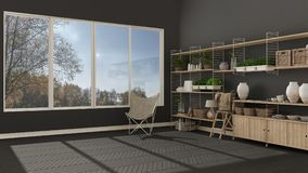 Eco gray interior design with wooden bookshelf, diy vertical gar Royalty Free Stock Photos