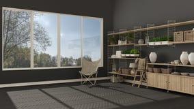 Eco gray interior design with wooden bookshelf, diy vertical gar Stock Photos