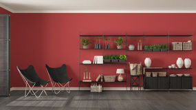 Eco gray and red interior design with wooden bookshelf, diy vert. Ical garden storage shelving, living, lounge relax area with armchairs Stock Photo