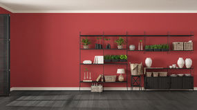 Eco gray and red interior design with wooden bookshelf, diy vert. Ical garden storage shelving, living room background stock photos