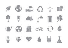 Eco gray vector icons set. Set of 24 Eco gray vector icons Stock Photos