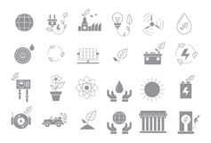 Eco gray vector icons  set. Set of 24 eco gray vector icons Stock Images