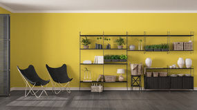 Eco gray and yellow interior design with wooden bookshelf, diy v. Ertical garden storage shelving, living, lounge relax area with armchairs stock images