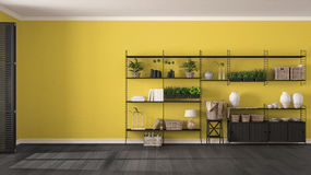 Eco gray and yellow interior design with wooden bookshelf, diy v Stock Photos