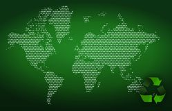 Eco green background. With white dot world map Stock Images
