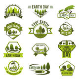 Eco green badge set for Earth Day design Stock Photo