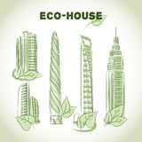 Eco green buildings icons Stock Photography