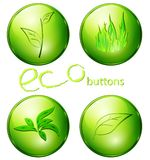 Eco green buttons Stock Photos