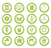 Eco green buttons set Royalty Free Stock Photos