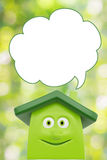 Eco green cartoon house. With speech bubble blank. Ecology concept Royalty Free Stock Photography