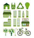 Eco and green city icon set Stock Image