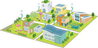 Eco Green City Map Vector Illustration. For any purpose and media such as wallpaper, banner, game, website, blog, social media, print on paper, canvas, bag Stock Illustration