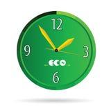 Eco green clock color vector Stock Photography