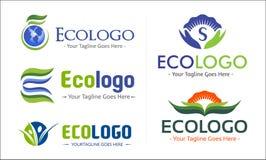 Eco Green Company Logo Pack Lizenzfreies Stockfoto