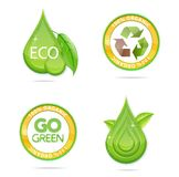 Eco green drops and emblems set Royalty Free Stock Images