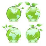 Eco green earth. Four ecology green earths each showing a different part of the world map Royalty Free Stock Image
