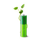 Eco green energy battery. On the white backdrop Royalty Free Stock Image