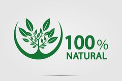 Eco green energy concept,100 percent natural label. Vector illustration. Eco green energy concept,100 percent natural label. Vector Stock Photography