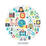Eco green energy flat infographics icons in circle - color concept illustration for cover, emblem, template. Royalty Free Stock Photo