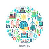 Eco green energy flat infographics icons in circle - color concept illustration for renewable energy cover, emblem Royalty Free Stock Photos