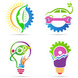 Eco green energy gear vector illustration