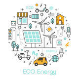 ECO Green Energy Thin Line Icons Set with Solar Battery and Windmill Stock Images