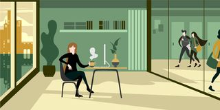 Modern urban eco green office interior with glass wall stock illustration