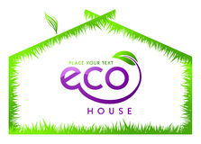 Eco green grass house isolated Stock Photography