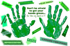Eco Green Hands with a Message Royalty Free Stock Photo