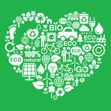 Eco green heart shape background - ecology, recycling concept Royalty Free Stock Photos